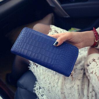 Jianyue หญิงเวอร์ชั่นภาษาญี่ปุ่นและภาษาเกาหลีซิปสตรีคลัชนางสาวกระเป๋าสตางค์ (สีฟ้า)