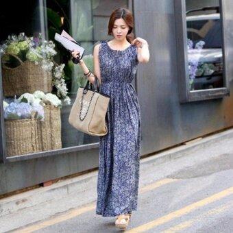 Jiayiqi Women's Long Maxi Dress Casual Floral Dress SleevelessO-neck Plus Size Blue - intl - 2