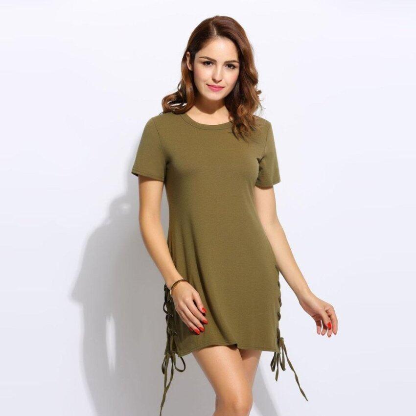 Jo.In Women O-Neck Short Sleeve Solid Hem Lace Up Split Dress - intl