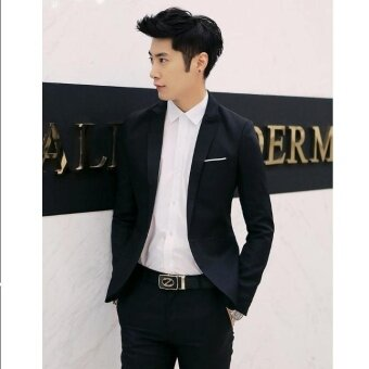 JOY Fashion casual suit Jacket Loose coat Black - intl