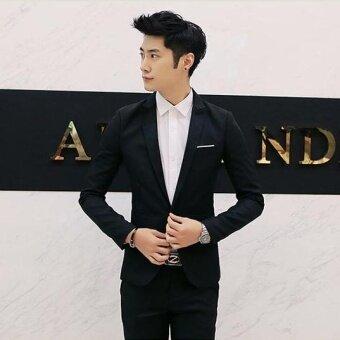 JOY Fashion casual suit Jacket Loose coat Black - intl - 2