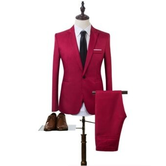 Harga JOY Korea Korean fashion Business suit two piece suit Burgundy -intl