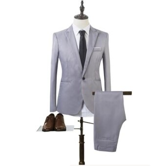 Harga JOY Korea Korean fashion Business suit two piece suit Grey - intl