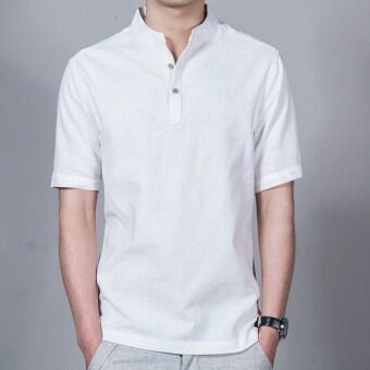 Harga JOY Korea Korean fashion Chinese wind linen men's shirt white