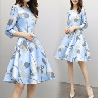 Harga JOY Korea Korean fashion Korean A word skirt dress Blue - intl