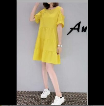 Harga JOY Korea Korean fashion large size A word dress Yellow - intl