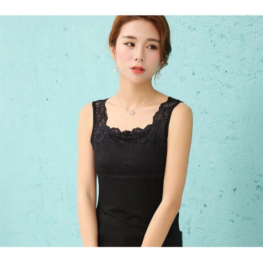 JP Fashion New Collection เสื้อแขนกุดแต่งลูกไม้ สีดำ