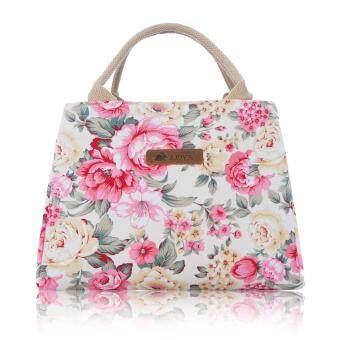 รีวิวพันทิป กระเป๋าผ้าแคนวาส รุ่น TWIN ด้านในมี 2 ช่อง สายสะพายถอดได้ลายดอกชมพูพื้นครีม