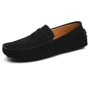 KAILIJIE ผู้ชาย Penny Loafers หนังรองเท้าหนังรองเท้าแอบขับรถเรือ(สีดำ)