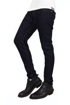 KAWPAN กางเกงยีนส์ ทรงขากระบอกเล็ก ผ้ายืด ริมม์ทอง - สีดำ