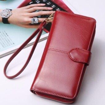 Korea กระเป๋าสตางค์ใบยาว กระเป๋าเงินผู้หญิง กระเป๋าสตางค์ ผู้หญิง รุ่น N0-88(สีแดง)