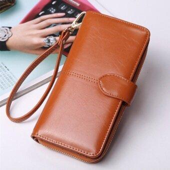 Korea กระเป๋าสตางค์ใบยาว กระเป๋าเงินผู้หญิง กระเป๋าสตางค์ ผู้หญิง รุ่น N0-88(สีน้ำตาล)