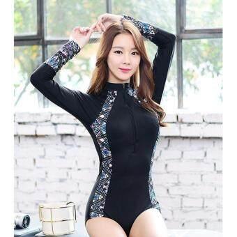 ชุดว่ายน้ำผู้หญิง วันพีซ แขนยาว Korea Style ไซต์ M-XL # 0707