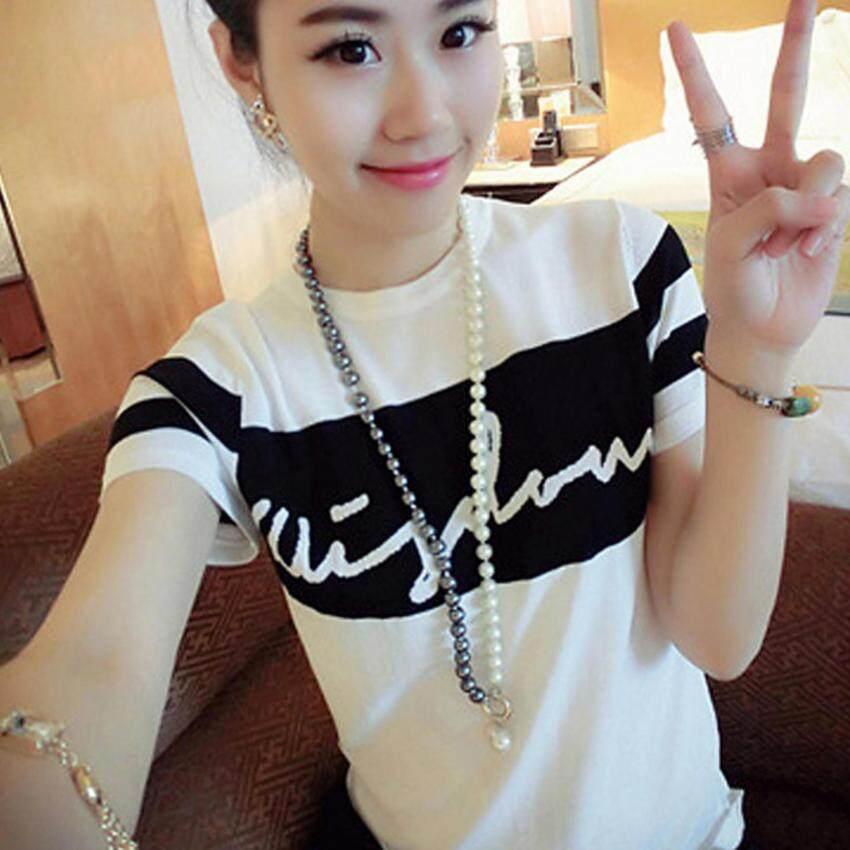 Korea เสื้อยืดแฟชั่น ผู้หญิง T-Shirt คอกลม แขนสั้น (สีขาว)รุ่น 040