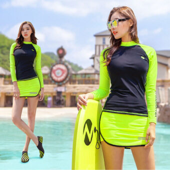 Korean 2 Pieces Female Conservative Skirt Style Pants Long-sleeved Sports Slimy UV Anti-tanned Swimsuits(Color:Black+Fluorescent Green) - intl