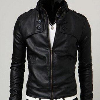 Korean men's leather jacket collar(black) - intl