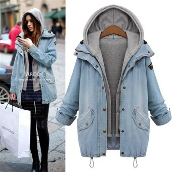 Korean Style Women Coat Jacket Ms Loose Hooded Jean Coats Jackets -intl