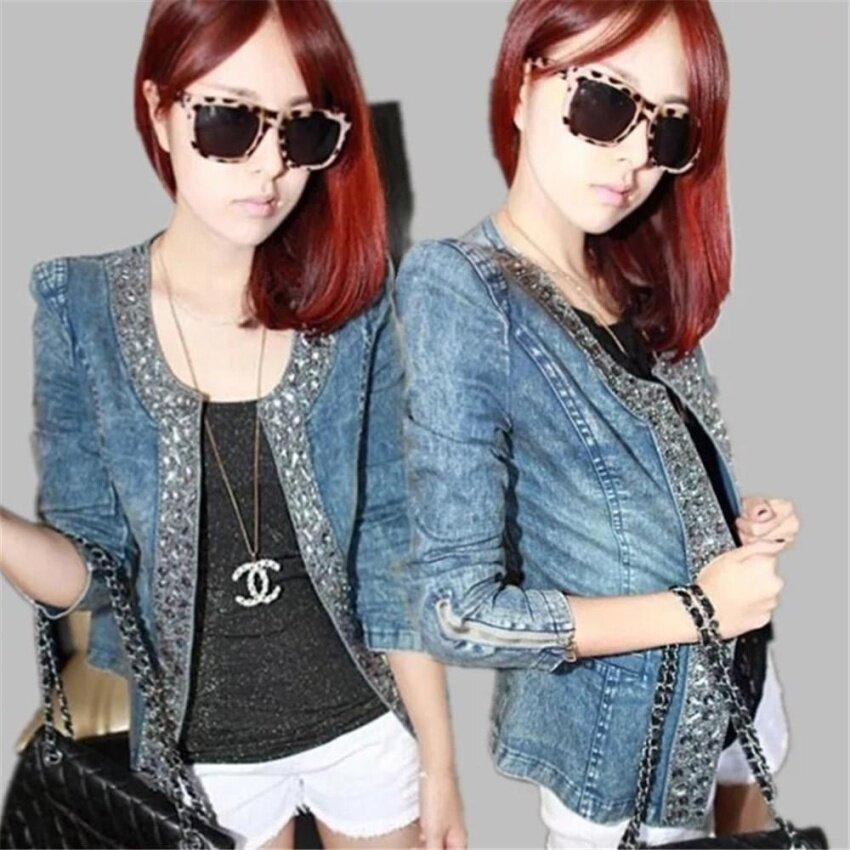 Korean Women Sequin Denim Jackets Long Sleeve Short Jeans Crystal Jacket Woman Denim Coat  - intl