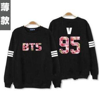 Kpop bts hoodies for men women bangtan boys album floral letter\nprinted fans supportive o neck sweatshirt plus size tracksuits -\nintl