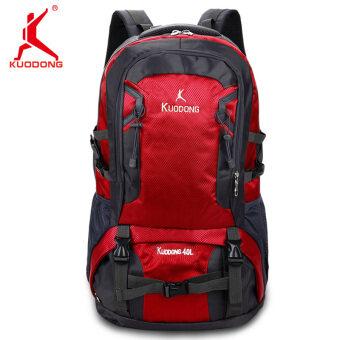 KUODONG ปีนเขาถุงสบายๆของผู้ชายและผู้หญิงกระเป๋าสะพายขนาดใหญ่ความจุกีฬา (40L สีแดงขนาดใหญ่)