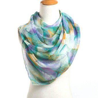Ladies Fashion Scarf High Quality Yarn Large Leaves Painted ScarfScarf- Blue and Green - intl
