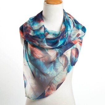 Ladies Fashion Scarf High Quality Yarn Large Leaves Painted ScarfScarf -Dark Blue - intl