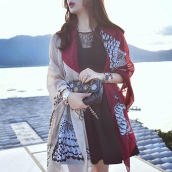 Ladies Street Shooting Travel Fashion Accessories Wild Shawl Scarf-No.22 Owl Red Wine - intl