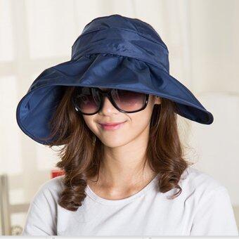 Lady Fashion Summer Hat หมวกกันแดดแฟชั่นคุณภาพสูง- Navy Style