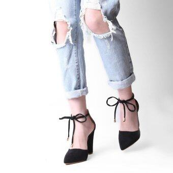 LALANG Ankle Strap Suede Thick Heels Sandals High-heeled Pointed Pumps (Black) - intl