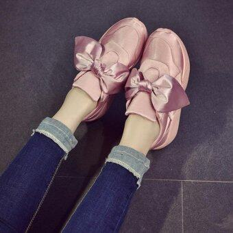 LALANG Big Bow Shoes Casual Shoes Round Shallow Mouth Flat Sneaker (Pink) - intl
