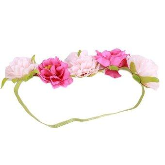 LALANG Bride Bohemian Simulation Flower Headband Garland Headdress\nHair Accessories (HotpinkPink) - Intl
