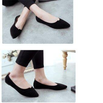 LALANG Ladies Pointed Toe Casual Loafe Flat Shoes (Black) - intl