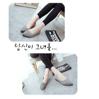 LALANG Ladies Pointed Toe Casual Loafe Flat Shoes (Grey) - intl