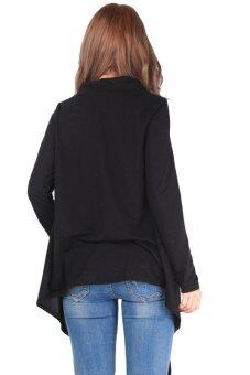 LALANG Women Oblique Tassels Tops Blouse Long Sleeve Coat Black