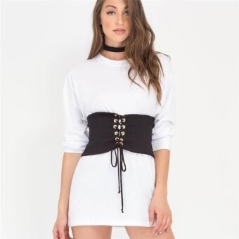LALANG Womens Laced Up Corset Elastic Fashion Wide Belt S (Black) -intl