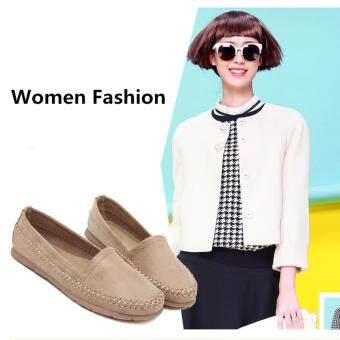 Latest Sweet Women Shoes Students Large Code Flat Shoes Peas Shoes(Apricot) - intl
