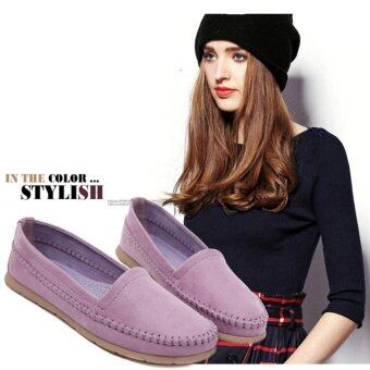 Latest Sweet Women Shoes Students Large Code Flat Shoes Peas Shoes(Purple) - intl