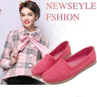 Latest Sweet Women Shoes Students Large Code Flat Shoes Peas Shoes(Red) - intl