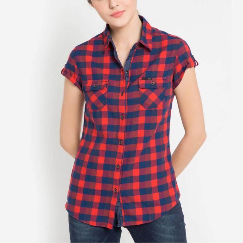 มาใหม่ เสื้อเชิ๊ตแขนสั้น รุ่น LE 16025551 สี RED0 ขายดี