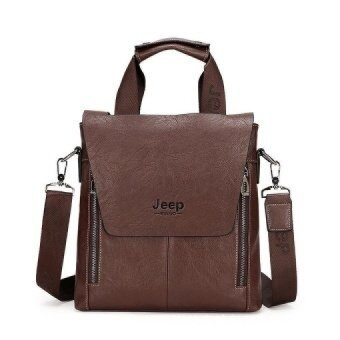 Leather Handbag for Business Men Jeep Portable Suitcase Crossbody Tote File Package (Coffee / Vertical Version) - intl