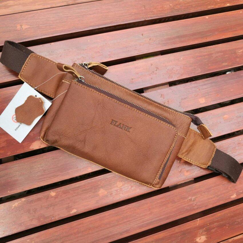 Leather Inc กระเป๋าคาดเอว-คาดอกหนังแท้ รุ่น C002-8-1 (สีแทน)