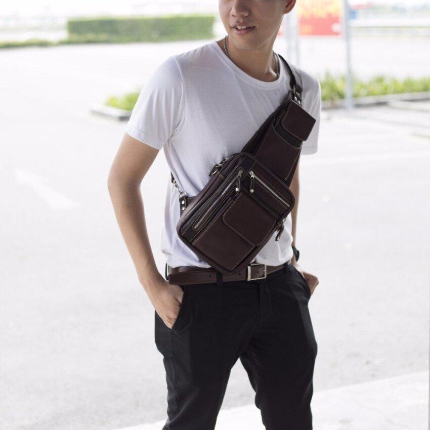 Leather Sling Bag Crossbody Bag For Ipad, Tools, Outdoor Travel, Men Sun Lifestyle SL220E-3 (Chocolate)