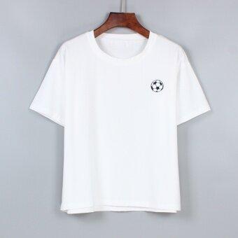 LEFEN เกาหลีปักใหม่ฟุตบอลแขนสั้นสีขาวเสื้อยืด (ฟุตบอล)