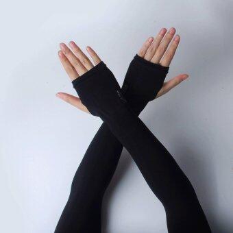ปลอกแขนกันแดด(เกี่ยวนิ้ว) Let's Slim สีดำ