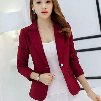 Leyi Fashion women cultivate one's morality show thin suit femalecoat Burgundy - intl