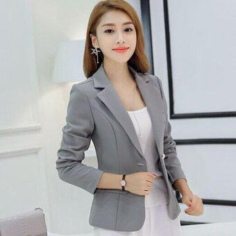 Leyi Fashion women cultivate one's morality show thin suit femalecoat Grey - intl