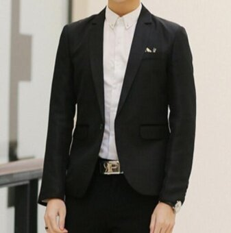 Leyi Men's fashion suit, small suit, slim casual suit coat black -intl