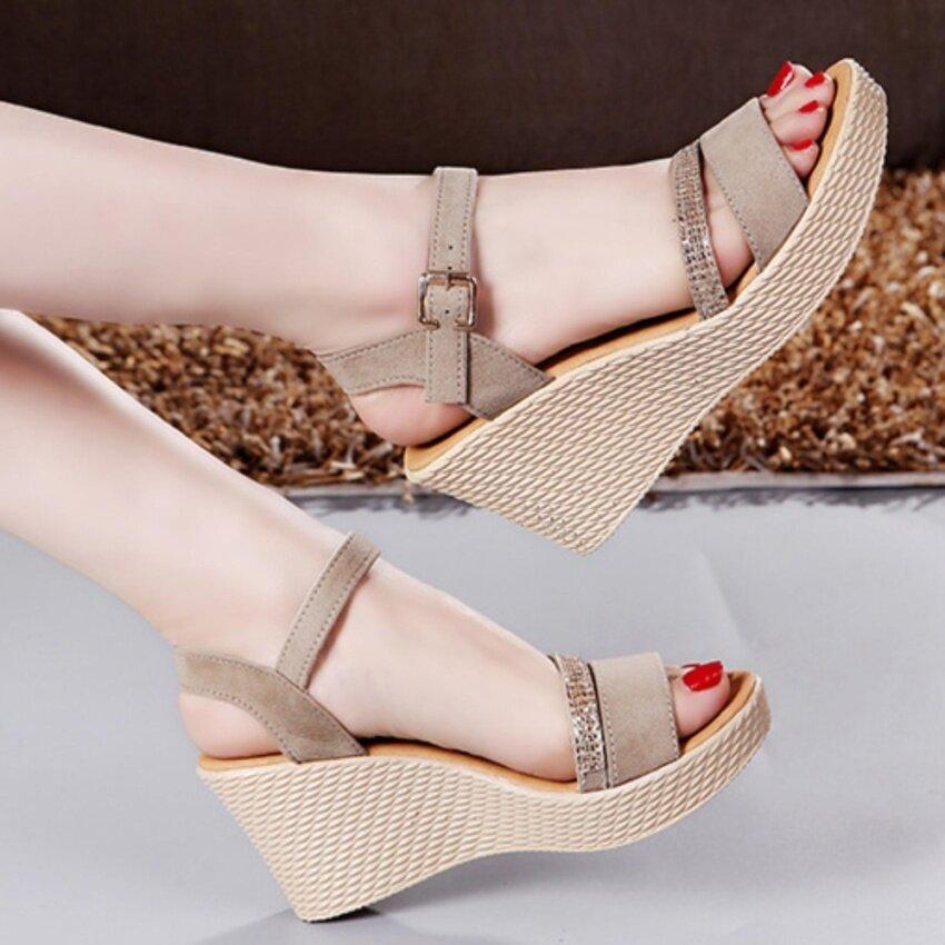 Leyi Ms. Fashion Wedge Sandals (Beige) - intl