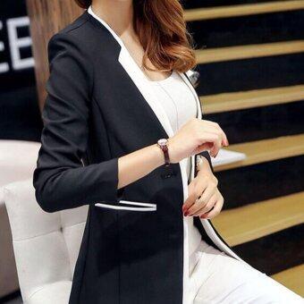 leyi ms temperament long sleeve splicing suit black intl 1487686216 09951221 4bb1a8396c2c1ffeaf5ff661c4dfe43a product ราคาถูกมาก Leyi Ms temperament long sleeve splicing suit Black
