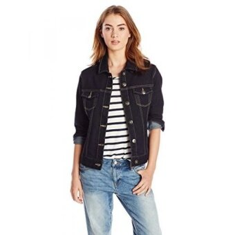 Liverpool Womens Classic Button Front Denim Stretch Jacket Rinse Wash - intl